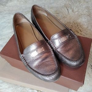 Coach Frederica Metallic Gold leather loafer